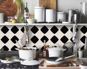 Tile Decals - Tiles for Kitchen/Bathroom Back splash - Floor decals - Mexican Diamond Vinyl Tile Sticker Pack color Black