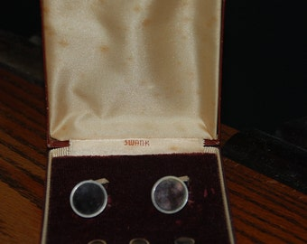 Genuine Vintage ca 1950s Formal Tuxedo Studs and Links Set by Swank -- Free Shipping!