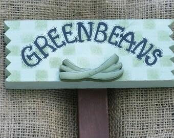 Painted Wooden Green Bean Vegetable Garden Marker, Greenbeans Sign, Veggie label