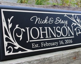 Gift for newlyweds wedding gifts personalized last name establish wood sign name sign wedding present unique wedding gifts established