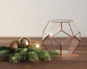 Glass Geometric Terrarium, Copper Desk Planter, Wedding Centerpiece, Wedding Decor, Teacher Gift, Coworker Gift, Dodecahedron, Pencil Holder