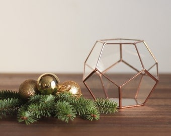 Glass Geometric Terrarium, Copper Desk Planter, Wedding Centerpiece, Wedding Decor, Teacher Gift, Coworker Gift, Dodecahedron, Pencil Holder