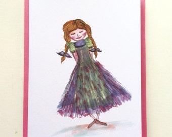 Little Girls Greeting Cards- Pack of 4xA6 Cards - Ballet Card - Bookworm Card - Little girls birthday card - illustrated card - dancer card