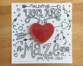 24 Pack : Color Your Own You Are A-Maze-ing Valentine Card