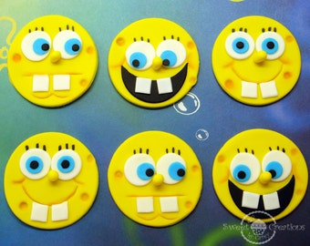 Edible Fondant SpongeBob Inspired Cupcake or Cookie Toppers