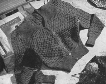 Vintage 1940s Knitting Pattern Larger Ladies Cardigan - digital download