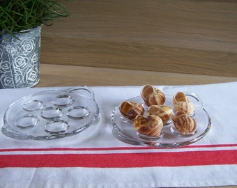 2 round dishes for 6 snails clear glass Pyrex with handles | french vintage 1950