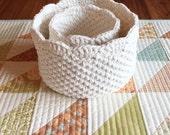 Round scallop edge nesting crochet baskets set-cotton bathroom nursery storage-storage bin-gift basket-crochet bin-crochet bowl-handmade.