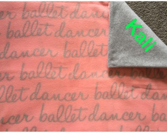 Personalize this Ballet Dancer double layered fleece blanket/throw
