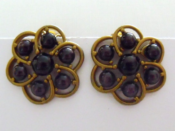 vintage bronze effect flower shaped beaded clip on earrings, retro costume jewellery