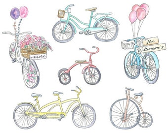 Watercolor Bicycle Clipart
