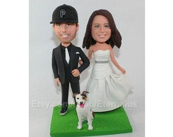 Bride & Groom with a Dog Custom Made Wedding Cake Topper , Custom Handmade Bride and Groom Cake Topper, wedding cake topper