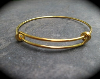 Antique Gold Smaller Size expandable wire bangle bracelet blanks Antique Gold Finish Double Loop Style Perfect for smaller size wrists