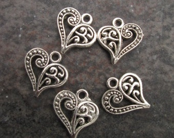 Filigree Heart Charms package of 5 with antique silver finish Double Sided heart charms scroll pattern