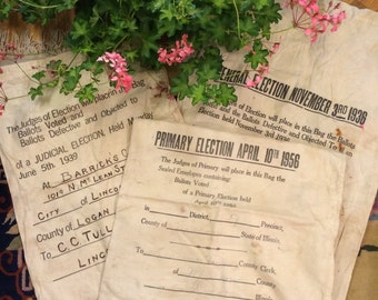 Vintage 1936, and 1956 Ballot Election Bags