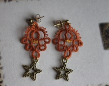 Orange Hand tatted Lace Earring with Star Charm