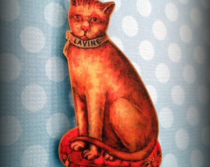 Kitty Cat Pin - Lavine the Cat - Cat Jewelry - Cat Pin - Cat Jewellery - Cat Lover - Catophile - Feline Pin - Vintage Illustration - Art
