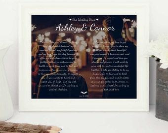 Wedding Vows printable, Wedding Vow keepsake, Personalized Wedding Vows, Personalised Wedding Vows, Wedding Vows print, 1st anniversary gift