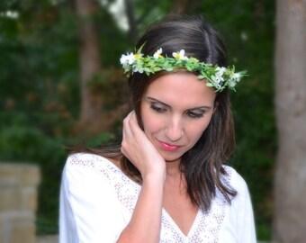 Boho Flower Crown, Woodland Bridal Headpiece, Maternity Floral Crown, Green Boho Head Wreath