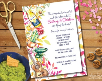 Fiesta Bridal Shower Invitation, Couples Shower, Printable, DIY, 5x7, Wedding Shower, Mexican Party Invite, Cinco De Mayo, Fiesta Shower
