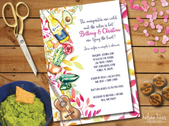 Wedding Shower Invitations For Couples: Fiesta Bridal Shower Invitation Couples Shower Printable