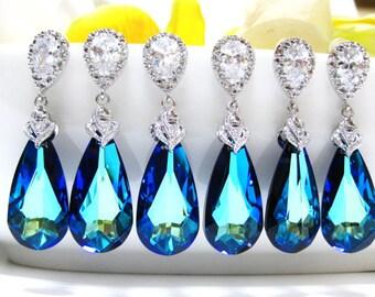 Set of 5,6,7,8,9,10,11 Bermuda Blue Earrings Swarovski Crystal Teardrop Earrings Wedding Jewelry Bridesmaid Gift Bridal Earrings (E002)
