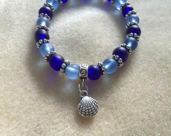 Frosted Blue Glass Shell Charm Bracelet
