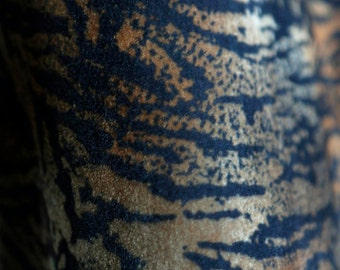 Vintage fuzzy velveteen animal tiger print fabric orange, blue, olive green colors - upholstery decor fabric
