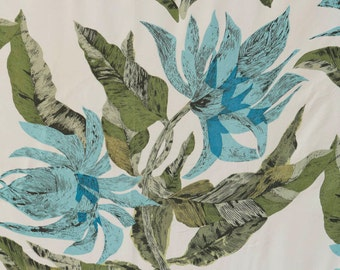 Fantastic 50's fabric turquoise and olive green stylized midcentury flowers // large floral pattern blend