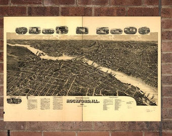 Rockford Illinois Vintage Print Poster Map 1891 Poster of IL Map Art Wall Decor