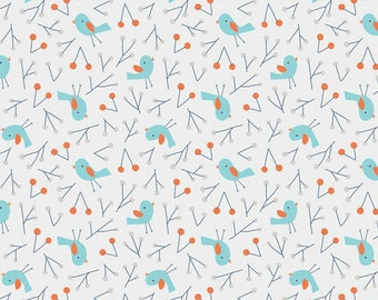 Bird Song Blue - Sweet Autumn Day by Little Cube for Cloud 9 Organic Fabric