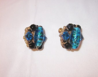 Vintage Signed Mariam Haskell Blue Lucite and Art Glass Clip on Earrings