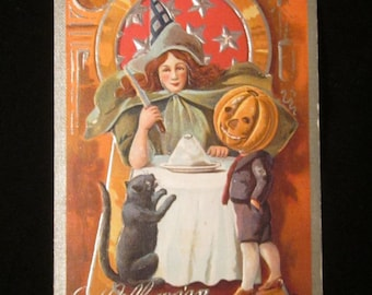 Antique Witch, Black Cat, Jack O Lantern Halloween Postcard c: 1910