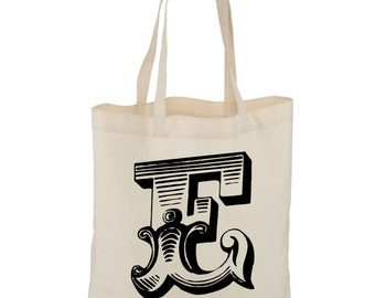 Romantic Vintage Letter, Initial, Large Shopping Tote Bag