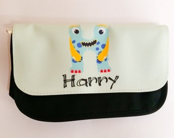 Personalised Monster Letter pencil case Perfect for Little Boy or Girl Going Back to School or Christmas Gift