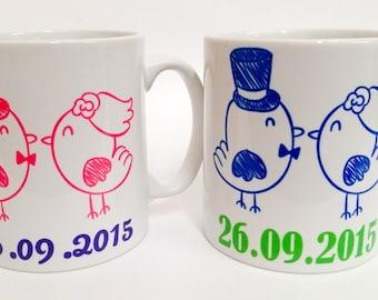 Love birds wedding mugs personalised with date~couples mugs~Wedding gift~Wedding present mug set
