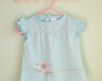vintage baby clothes, baby girl shirt, Mon Petit, 3-6 months