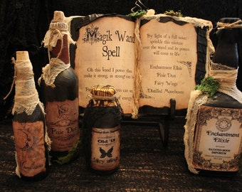 "Halloween Spell Book & Potion Bottle Set, ""Magik Wand Spell"", Complete Halloween Display, Prop, Decor, Haunted House, Spells, Potions, Magik"