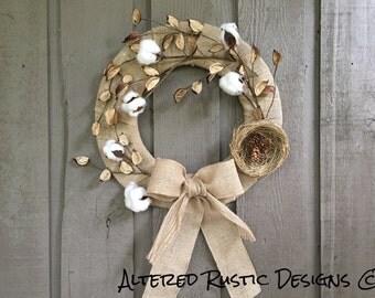 Cottonball wreath/ burlap cottonball wreath/ burlap wreath/ burlap/ wreath/ rustic wreath/ fall wreath/ Autumn wreath/ natural wreath/ wall