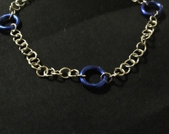 Silver Chain Bracelet with Blue Accent