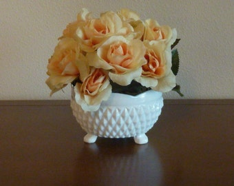 Vintage Footed Milk Glass Flower Vase English Hobnail Planter Pot Candy Buffet Bowl Cottage Shabby Chic Wedding Decor