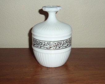 Vintage AVON Covered Milk Glass Bowl with Gold Leaf Design Vanity Item Trinket Powder Jar