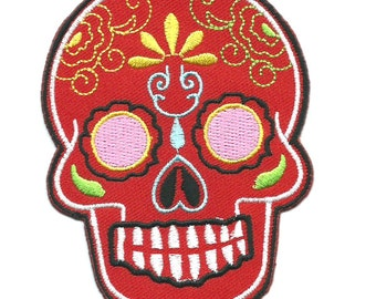 Red Mexican Sugar Skull Iron On Patch Embroidered Applique