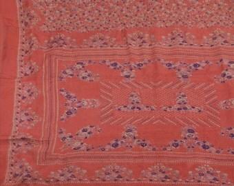 KK Pure Silk Saree Peach Printed Sari Floral Craft Fabric