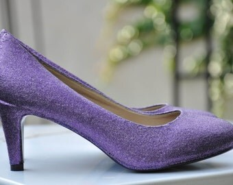 Lavender wedding shoes Lavender violet shoes Glitter shoes Wedding shoes violet lavender wedding flats low heels high heels with silver