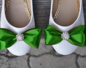 Wedding shoes Emerald wedding shoes green shoes Wedding ballet shoes Emerald green flats green flats ballerina flats green shoes low heels