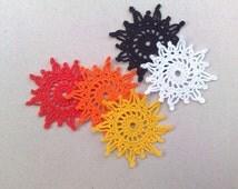 crochet Sun applique  Embellishment Yellow sun Orange sun Crochet motif