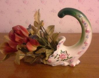 Vintage Hand Painted Italian Cornucopia Vase With Artificial Flowers