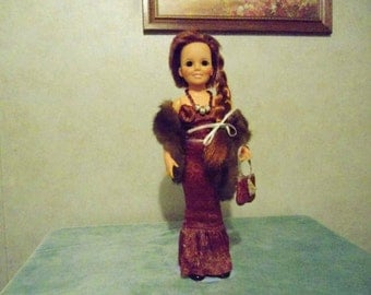 Vintage Crissy Doll, Real Fur Stole, Black Patent Shoes from the Crissy Family of Dolls in Excellent Vintage Condition