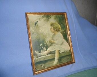 ZULA Kenyon Song Of The Blue Bird Gold Wooden Frame  McLEOD Co. Art Store